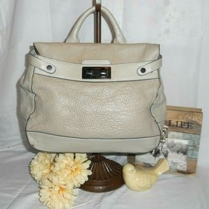 BCBGMaxAzria Taupe Gray Leather Handbag
